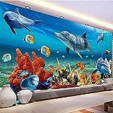 Papel tapiz mural 3D para niños, papel de pared de pez delfín submarino, fondo de pared de acuario, decoración Pared Pintado Papel tapiz 3D Decoración dormitorio Fotomural sala sofá mural-350cm×256cm