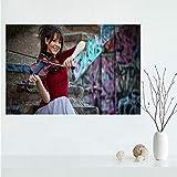 WHMQJQ Cuadro de Arte de Pared Artista Lindsey Stirling y violín Lienzo Pintura Carteles e Impresiones café decoración de Sala de Estar sin Marco 50 * 75Cm