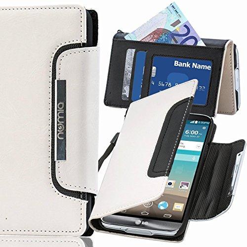 numia LG L90 Hülle, Handyhülle Handy Schutzhülle [Book-Style Handytasche mit Standfunktion & Kartenfach] Pu Leder Tasche für LG L90 Case Cover [Weiss-Schwarz]