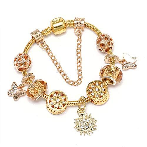 Pulsera de encanto con colgante de sol brillante ajuste pulsera de estilo europeo para mujeres joyería regalo C01 17cm
