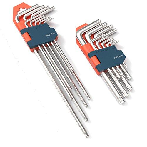 Presch juego de 18 llaves Allen HX & TX - juego profesional llaves Allen pequeño compacto con soporte plegable