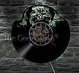 Txyang 1 Pieza Lindo Perro Pug Disco De Vinilo Reloj De Pared Animal Habitación De Los Niños Doggy Decoración Reloj De Pared Casa Mascota Cachorro Hecho A Mano CD Reloj De Tiempo