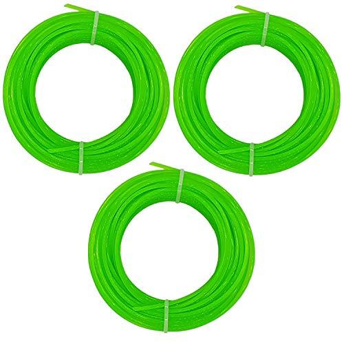 Land-Haus-Shop 3 Rollen Rasentrimmerschnur 2 mm PVC, Kunststoff Rasen Trimmer Schnur Faden, 15m (LHS)