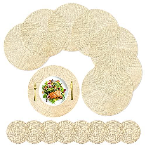 YMHPRIDE 16 tovagliette rotonde e sottobicchieri, set di 8 tovagliette da tavolo in PVC color oro, resistenti al calore, lavabili e antiscivolo, per esterni, interni, cene e cucina
