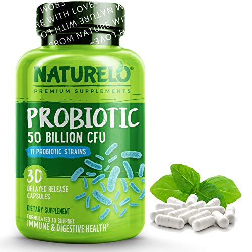 NATURELO Probiotic Supplement - 50 Billion CFU - 11 Strains - One Daily - Helps Support Digestive & Immune Health - Delayed Release - No Refrigeration Needed - 30 Vegan Capsules