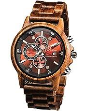 BesTn 木製腕時計 メンズ ウッド ウォッチ 男性用 日付表示 多針アナログ クロノグラフ機能 夜光 軽量 天然木 クォーツ 時計 カジュアル