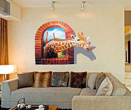 Beyond 3D Wandsticker Giraffe Wandtattoo Wandbilder Aufkleber für Tier Fans