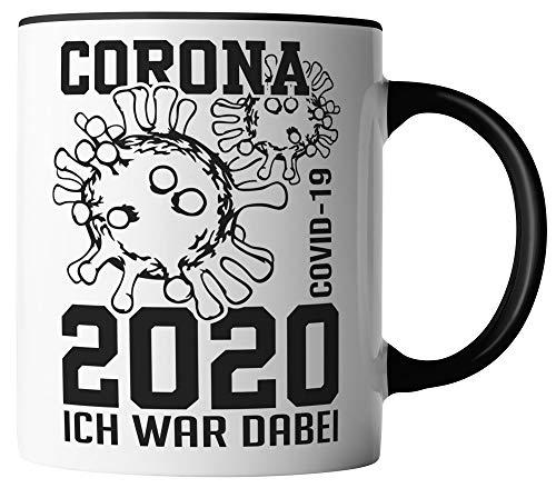 vanVerden Tasse - Corona-Virus 2020 Ich war dabei. COVID-19 - beidseitig Bedruckt - Geschenk Idee Kaffeetassen mit Spruch, Tassenfarbe:Weiß/Schwarz