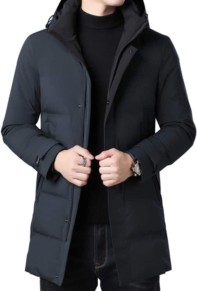 Down jacket Thicken Winter Middle-Aged Men's, Medium Long Hooded Jacket, Padding: 80% Gray Duck Down (Size: M, L, XL, 2XL, 3XL, 4XL)