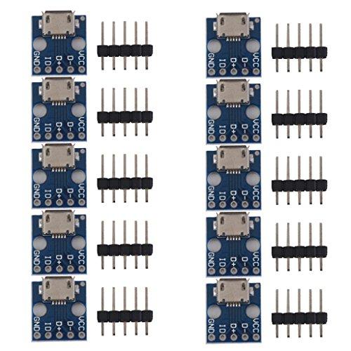 MagiDeal 10pcs/Set Female Micro USB to DIP 5-Pin Pinboard 2.54mm Micro USB Type