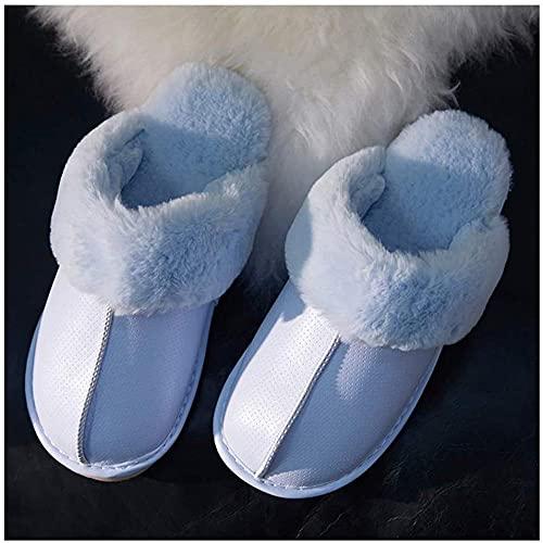 Zapatillas de algodón zapatillas de algodón para mujeres invierno invierno pareja de soledad de espeso cálido interior PU de piel de peluche zapatillas de invierno zapatillas de casa caliente-40-