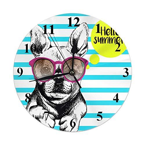Reloj para perro a rayas Bulldog francés con gafas de sol Hello Summer Reloj de pared redondo Slient Non Ticking Rústico Decoración para el hogar 10 pulgadas para cocina Baño Oficina Azul Amarillo Bla