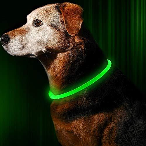 GREENTREEN LED Hundehalsband, LED Halsband für Hunde, Halsband Hund LED Leuchthalsband USB Aufladbar Längenverstellbar (Grün2)