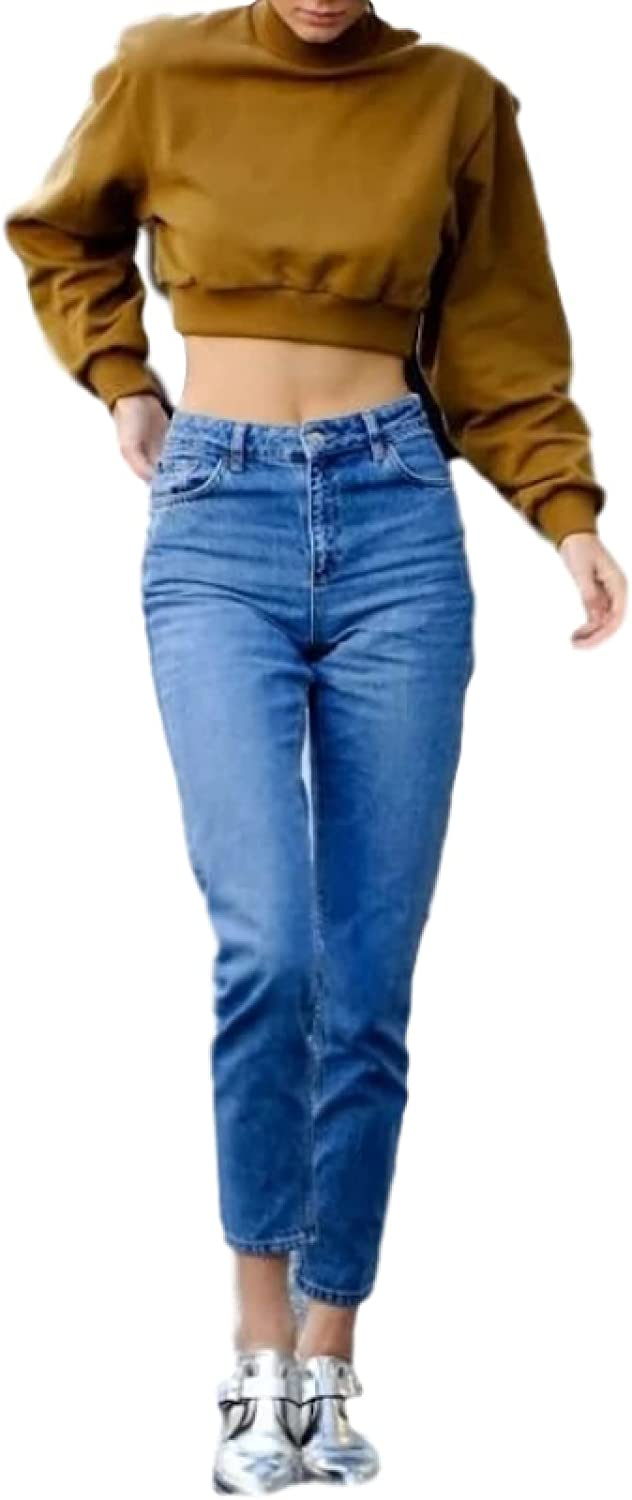 Women's Retro 5 popular Washed High-Waisted Harlan Fashion Jeans Streetwea OFFicial