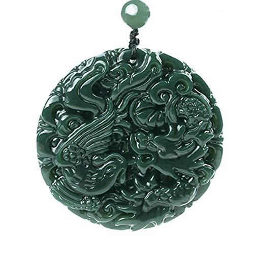 yigedan Anhänger aus natürlicher grüner Jade, rund, Drache, hohl, geschnitztes Amulett