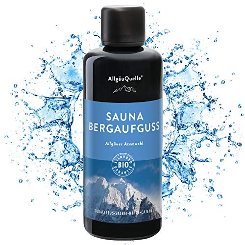 AllgäuQuelle Saunaaufguss mit 100% BIO-Öle Atemwohl Eukalyptus Minze Salbei Cajeput (100ml). Natürlicher Sauna-aufguss m. ätherische Sauna-Öle im Aufguss-Mittel. Saunaöl natrurrein (kba) Bio-Saunaduft