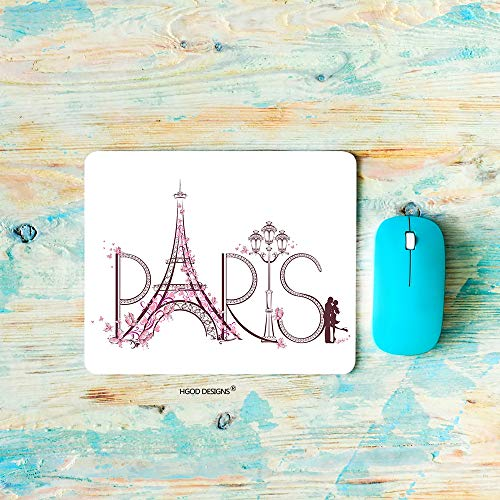"HGOD DESIGNS Gaming Mouse Pad Paris Eiffel Tower,Pink Paris Eiffel Tower Love Design Mousepad Rectangle Non-Slip Rubber Mouse Pads(7.9""X9.5"")"