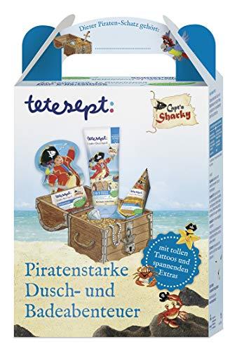 tetesept Capt'n Sharky Geschenkset - für piratenstarke Dusch-und Badeabenteuer - Mit tollen Tattoos und spannenden Extras - ideal als Geschenk oder Überraschung für Kinder