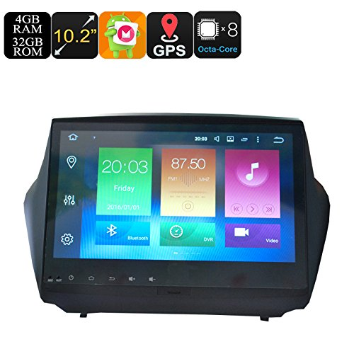 One DIN Car Media Player For Hyundai IX35 10.2 Inch Display 4+32GB Android 6.0