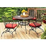 Better Homes and Gardens Wrought Iron Patio Dining Set, Clayton Court Cushioned 5 Piece, Red