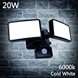 20W LED PIR Security Light with Motion Sensor,Waterproof IP66,Daylight White,1600LM,Outdoor Twin Security LED