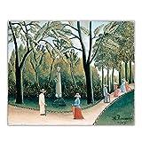 Henri Rousseau 'Los jardines de Luxemburgo, Monumento a Chopin' Lienzo Pintura al óleo Póster Decoración de arte occidental Decoración del hogar 60x90 cm x1 Sin marco