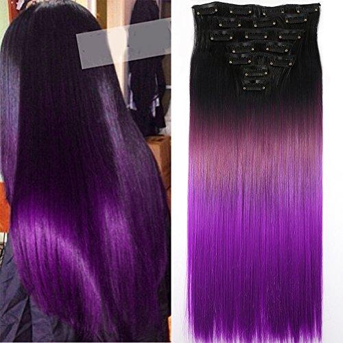 Neverland Beauty 60cm Clip in 7Pcs 16 Clips Triple Ombre Extensions de Cheveux Tête Complète Longs Perruques Postiches #8