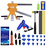 Professional Paintless Dent Repair Kit, Adjustable Golden Car Dent Puller with Rubber Hammer, Hot Melted Gun and Glue Sticks for Auto Dent Removal, Minor dents, Door Dings and Hail Damage