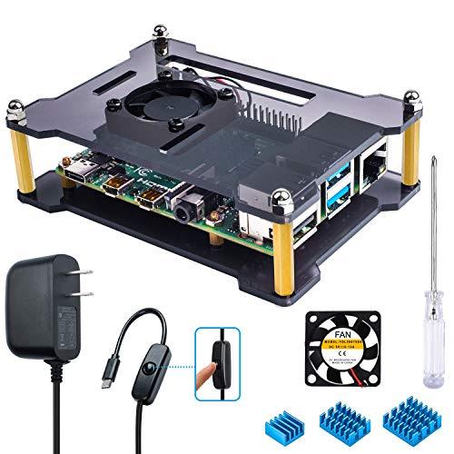 Miuzei Raspberry Pi 3B+ Gehäuse mit Kühler und 3 × Heizkörpern, 5 V 3 A Netzteil mit An-/Aus-Schalterkabel für RPi 3B+, 3B, 2b Open-Air Case