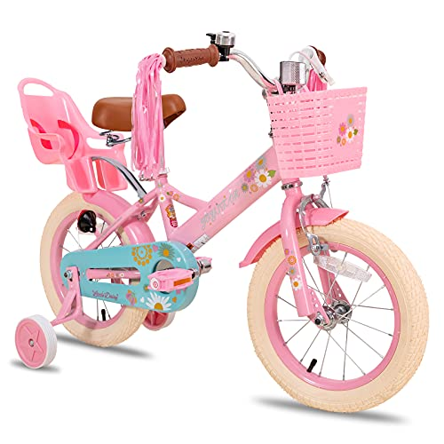 JOYSTAR Little Daisy 12 Inch Kids Bike for 2 3 4 Years Girls with Training Wheels Princess Kids Bicycle with Basket Bike Streamers Toddler Cycle Bikes Pink