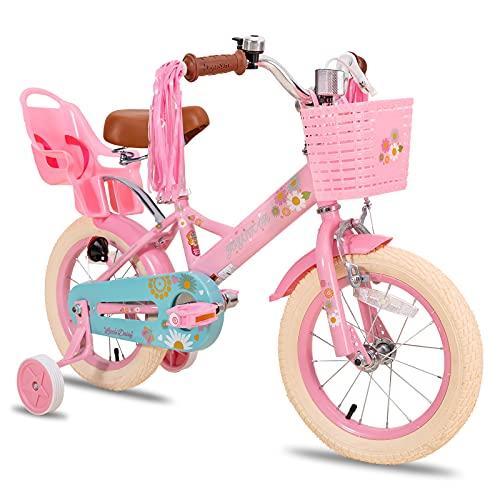 JOYSTAR Little Daisy 14 Inch Kids Bike for 3 4 5 Years Girls with Handbrake Children Princess Bicycle with Training Wheels Basket Streamer Toddler Cycle Bikes Pink