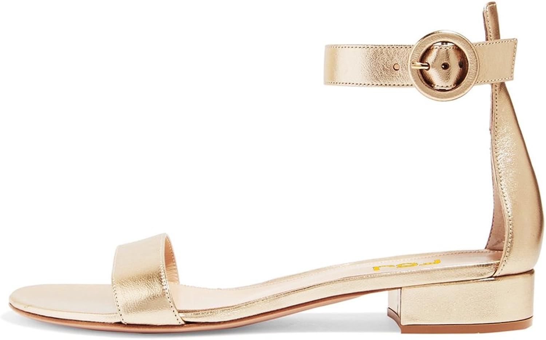 FSJ Women Ankle Strap Flats Sandals Open Toe Chunky Low Heel Comfortable Walking shoes Size 4-15 US