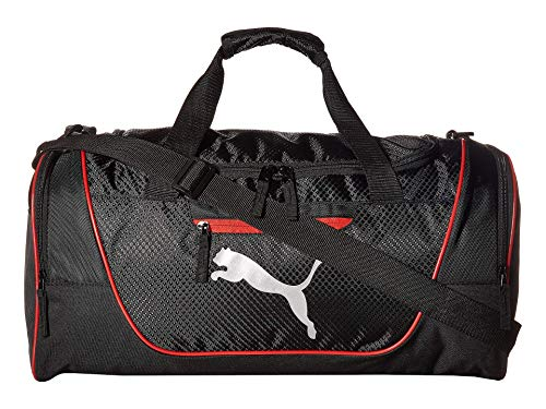 PUMA unisex adult Contender Bag Duffel, Black/Red, One Size US