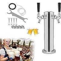 ビールタワーディスペンス、デュアルタップステンレスドラフトビールタワーディスペンス飲酒クローム蛇口家庭用バーパブ用