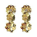 Pendientes colgantes con forma de flor grande exagerada para mujer, elegantes pendientes de boda, grandes y largos, venta caliente Amarillo