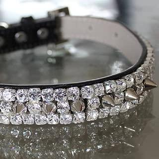 Rockstar TM - XS Clear Diamante Rhinestone Spiked Collar - Whitesnake Inspired Dog Cat Jewelry Collar Necklace