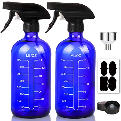 16oz Cobalt Blue Glass Spray Bottles with Measurements - Empty Reusable Refillable Container with Funnel and Labels for Mixing Essential Oils, Homemade Cleaning Products(2 Pack)
