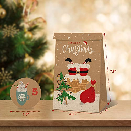 24pcs Christmas Kraft Goody Gift Paper Bags, Small Holiday Gift Wrapping Bags with Assorted Christmas Prints for Xmas Party Favors Small Gifts Present Party Supplies Classrooms Decorations Gift-Giving
