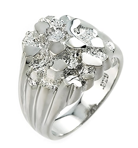 Nugget Rings Polished 925 Sterling Silver for Men (Size 8)