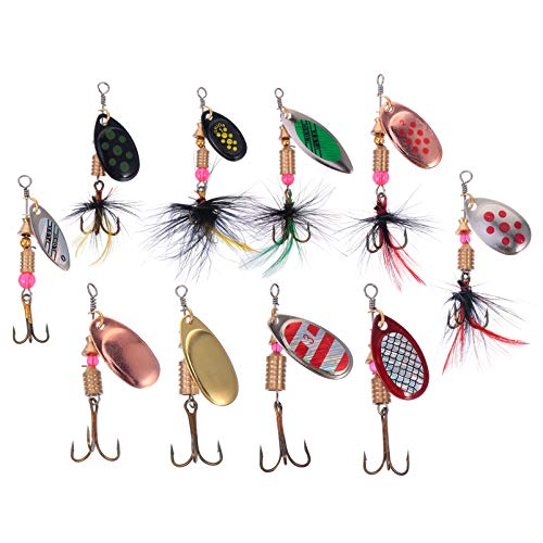 BESPORTBLE 10Pcs Artificial Fishing Lures Metal Fishing Jigging Lures Fishing Bait Sinking Wobbler Treble Hooks Fishing Lures with Tackle Box