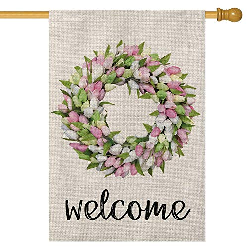 Gayrrnel Welcome Burlap House Flag, 28 x 40 Inch Vertical Double Sized Large Flags - Double Sided Seasonal for Home Decor Outdoor Yard Decorative (Welcome-A)