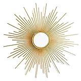 N / A Espejo Decorativo para Colgar En La Pared En Forma De Rayos De Sol, Espejo De Pared Redondo De Rayos De Sol Dorado Cepillado, Espejo De Estilo Moderno De Mediados De Siglo(Size:70cm)