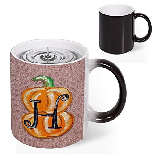 Heat Reveal Ceramic Coffee Mug Vintage Alphabet H Font Letter Pumpkin Carving Home Kitchen Tea Coffee Cups Novelty Christmas Secret Santa gift Christmas Coffee Present