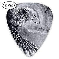 ギターピック 12枚セット 狼と鷹 それぞれ厚さ カラフル 3種類 0.46/0.71/0.96mm 収納ケース付 ティアドロップ型 Shape Guitar Picks ベース 練習 初心者