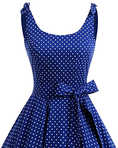 Bbonlinedress 1950er Vintage Polka Dots Pinup Retro Rockabilly Kleid Cocktailkleider Blue White Dot XL - 4