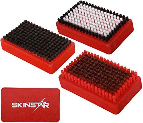 SkinStar 3er Set Ski Belagsbürsten BaseBrush Nylon, Rooshaar u. Kufper/Bronze rot