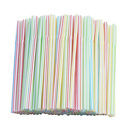 200 Pcs Flexible Straws,Disposable Plastic Stripes Multiple Colors Straws.(0.23'' diameter and 7.8