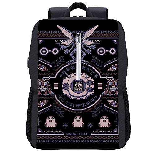 Christmas Dig-imon Tentomon Digivolve Knowledge 8 Bit Knit Pattern Backpack Daypack Bookbag Laptop School Bag with USB Charging Port