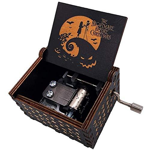 Caja de música de Madera Caja de música Vintage grabada con manivela Juguetes Musicales Grabados con manivela - La Pesadilla Antes de Navidad Caja de música Tallada Antigua Regalo Musical Creativo