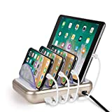 Merkury Innovations 4.8 Amp 4-Port USB Charging Station Fast Charge Docking Station for Multiple Devices - Multi Device Charger Organizer - Compatible with Apple iPad iPhone and Android (White/Gold)